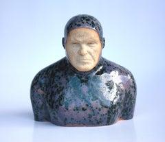 Violet Swimmer - Contemporary Handmade Glazed Ceramics Sculpture , Man Portrait