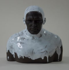 White Swimmer 2 - Contemporary Handmade Glazed Ceramics Sculpture , Man Portrait