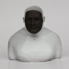 White Swimmer - Contemporary Handmade Glazed Ceramics Sculpture , Man Portrait