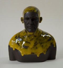 Yellow Swimmer - Contemporary Handmade Glazed Ceramics Sculpture , Man Portrait