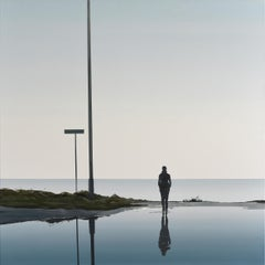 Infinity -  Modern Figurative Landscape Painting, Minimalistic, Sea, Beach View