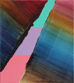 Untitled 10 - Contemporary Abstract and Colorful Oil Painting, Textile Lightness