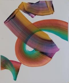 Untitled 4 - Contemporary Abstract Painting, Textile Lightness, Lively Colors