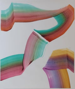 Untitled 5 - Contemporary Abstract Painting, Textile Lightness, Lively Colors