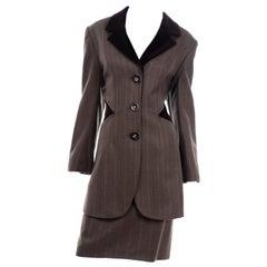 Tomasz Starzewski England Vintage Brown Equestrian Style Skirt Suit