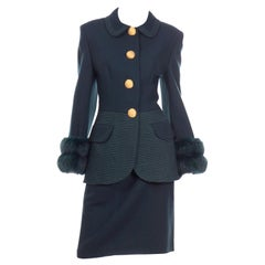 Tomasz Starzewski Green Wool Skirt Suit With Topstitching and Dyed Fur Cuffs