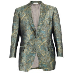 Tomasz Starzewski Men's Pure Silk Paisley Jacquard Vintage Blazer Jacket, 1990s