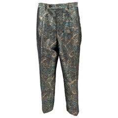Tomasz Starzewski Vintage Mens Pure Silk Brocade Trousers Pants