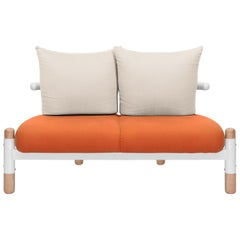 Tomato PK15 Two-Seat Sofa, Carbon Steel Structure & Wood Legs by Paulo Kobylka