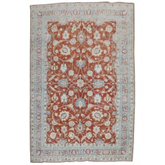 Tomato Red Traditional Persian Tabriz Rug