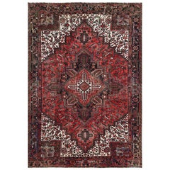 Tomato Red Vintage Persian Heriz Organic Wool Clean Hand Knotted Oriental Rug