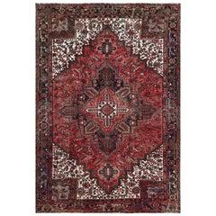 Tomato Red Vintage Persian Heriz Organic Wool Oriental Rug
