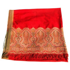 Tomato Red Wool Kashmiri Paisley Bordered Throw