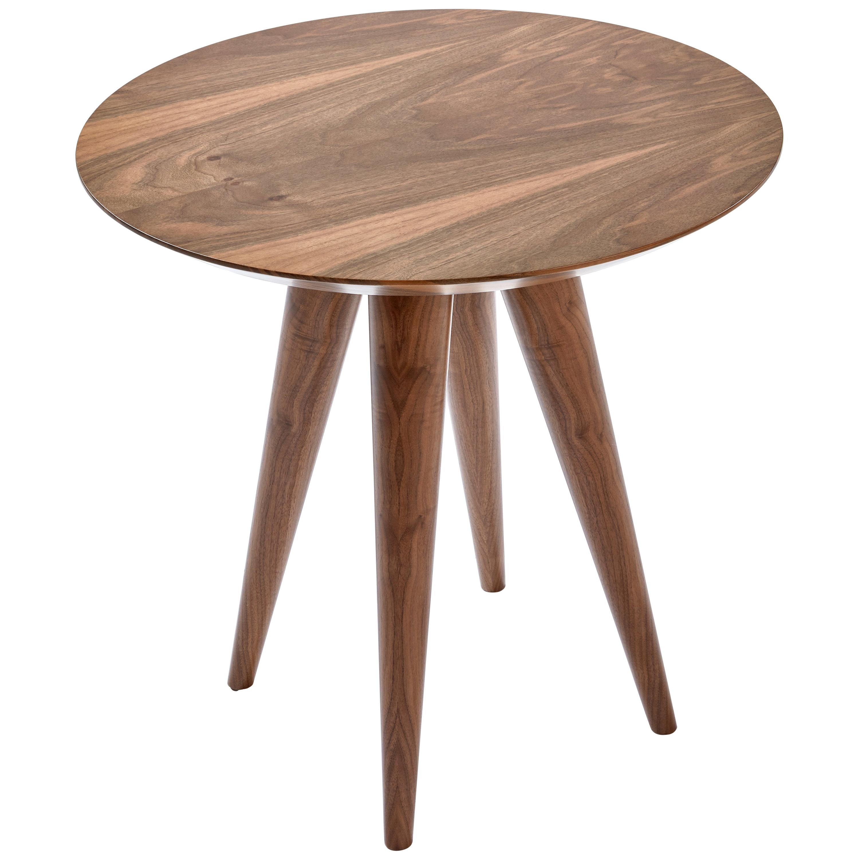 Tombo Table, Solid Walnut Wood Accent Side Table