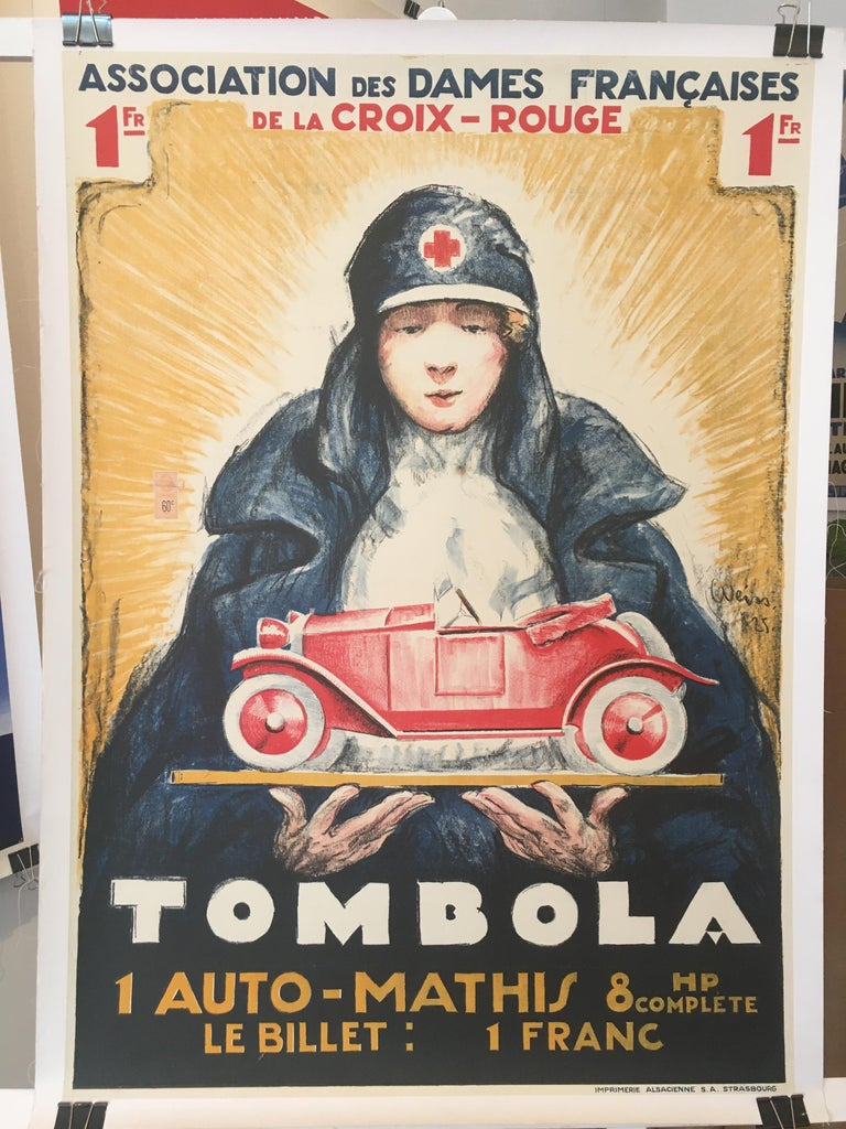 'TOMBOLA', Original Vintage French Art Deco Advertising Poster In Good Condition For Sale In Melbourne, Victoria