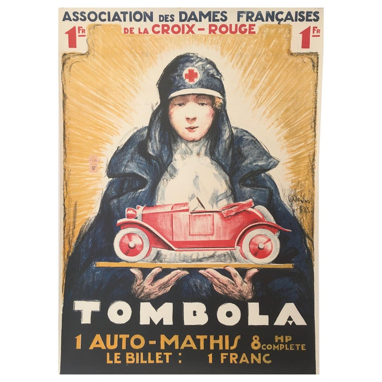 'TOMBOLA', Original Vintage French Art Deco Advertising Poster For Sale