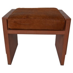 Tomboy Stool in Cognac Shagreen and Cowhide by R & Y Augousti