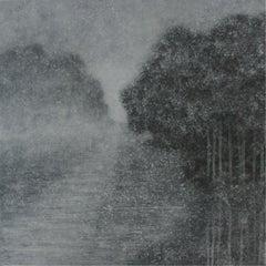 Dispersion LI - Contemporary Landscape, Grey Minimalistic Painting