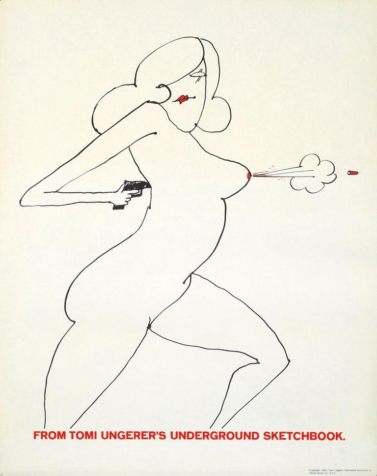 Tomi Ungerer Nude Gun (Tomi Ungerer underground sketchbook) - Pop Art Print by Tomi Ungerer