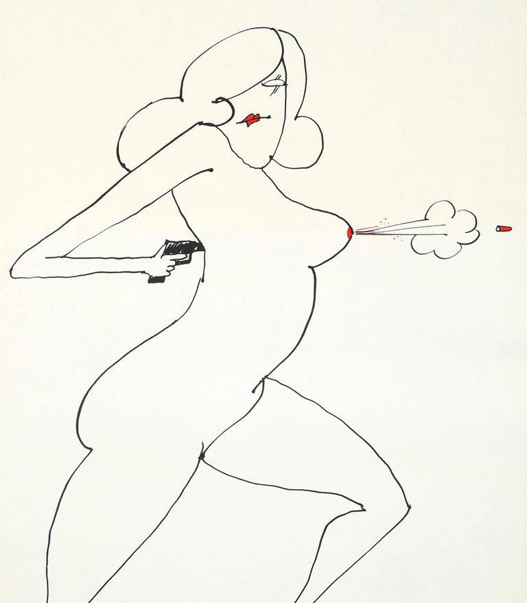 Tomi Ungerer Nude Gun a selection from Underground Sketchbook: First printing, 1965. Medium: Vintage poster. Size: 23 in. x 29 in. (58.42 cm x 73.66 cm) Minor wear consistent with age and medium; otherwise very nice.  Renowned for his iconic