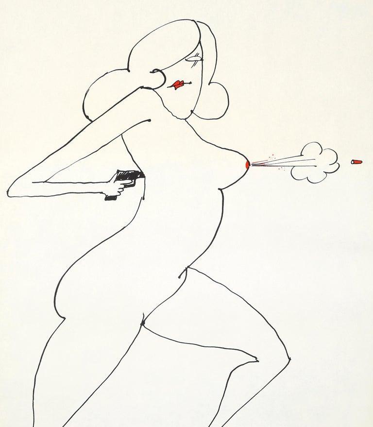 Tomi Ungerer Nude Gun (Tomi Ungerer underground sketchbook) - Print by Tomi Ungerer