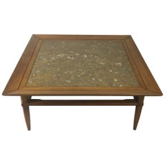 Tomlinson Marble and Pecan Midcentury Coffee Table