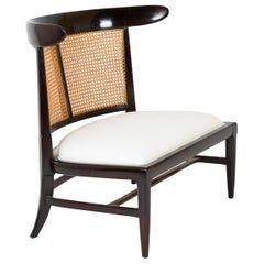 Tomlinson Slipper Lounge Chair with Walnut Frame and Caned Back