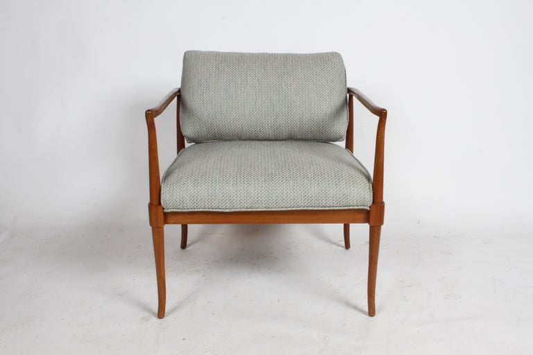Tomlinson sophisticate chair designed by John Lubberts & Lambert Mulder. Restored original finished, re-glued frame with new foam and upholstery. This lounge chair has styling of another mid-century designer T.H. Robsjohn-Gibbings for Widdicomb.