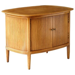 Tomlinson Sophisticate Collection Faux Tambour Door Walnut Side Table