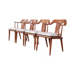 Tomlinson Sophisticate Mid-Century Modern Walnut and Cane Armchairs, Set of Four