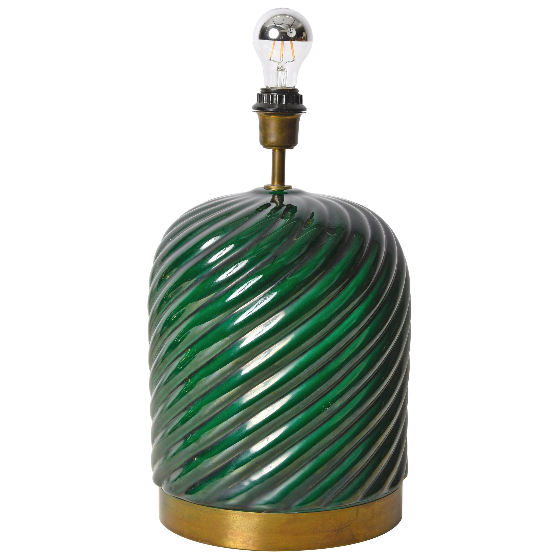 Tommaso Barbi Midcentury Green Ceramic and Brass Italian Table Lamp, 1960s