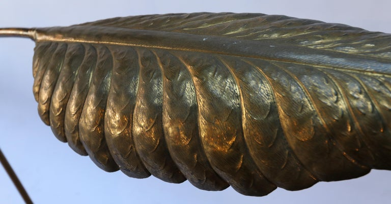 Late 20th Century Tommaso Barbi 1970s Italian Brass Leaf Floor Lamp For Sale