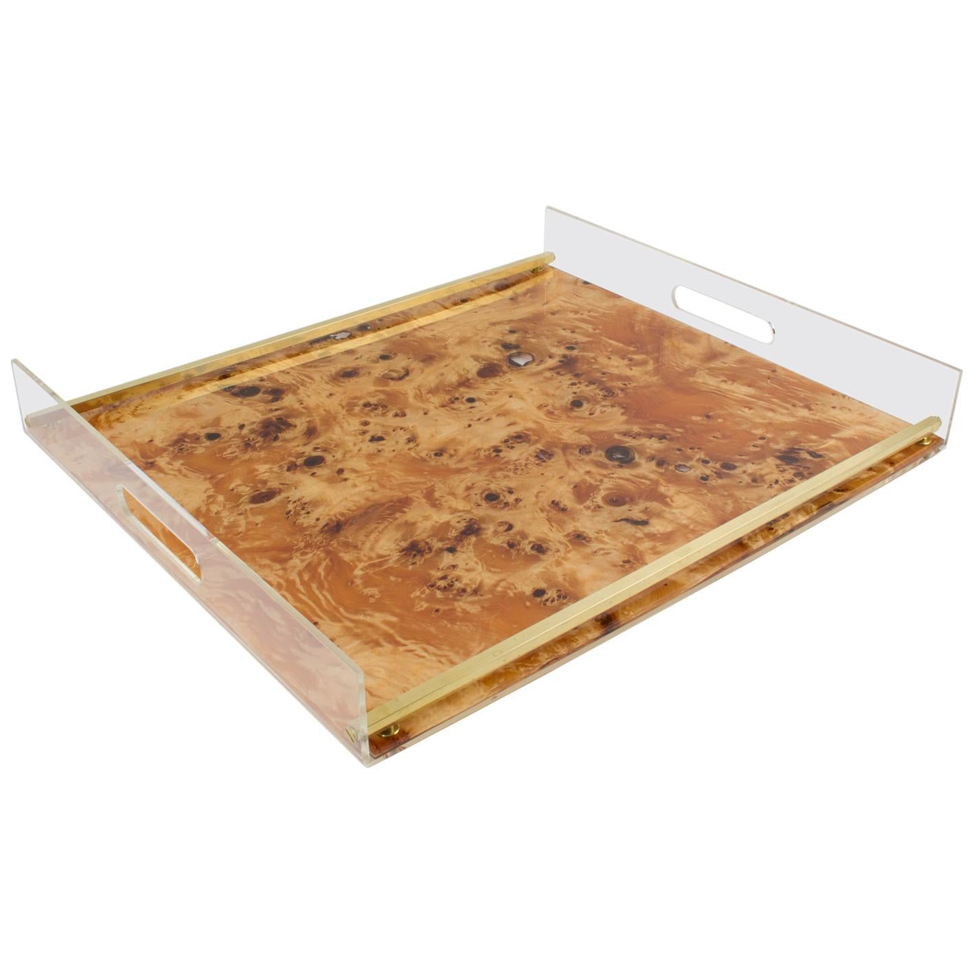 Tommaso Barbi 1970s Lucite and Burl Wood Barware Tray