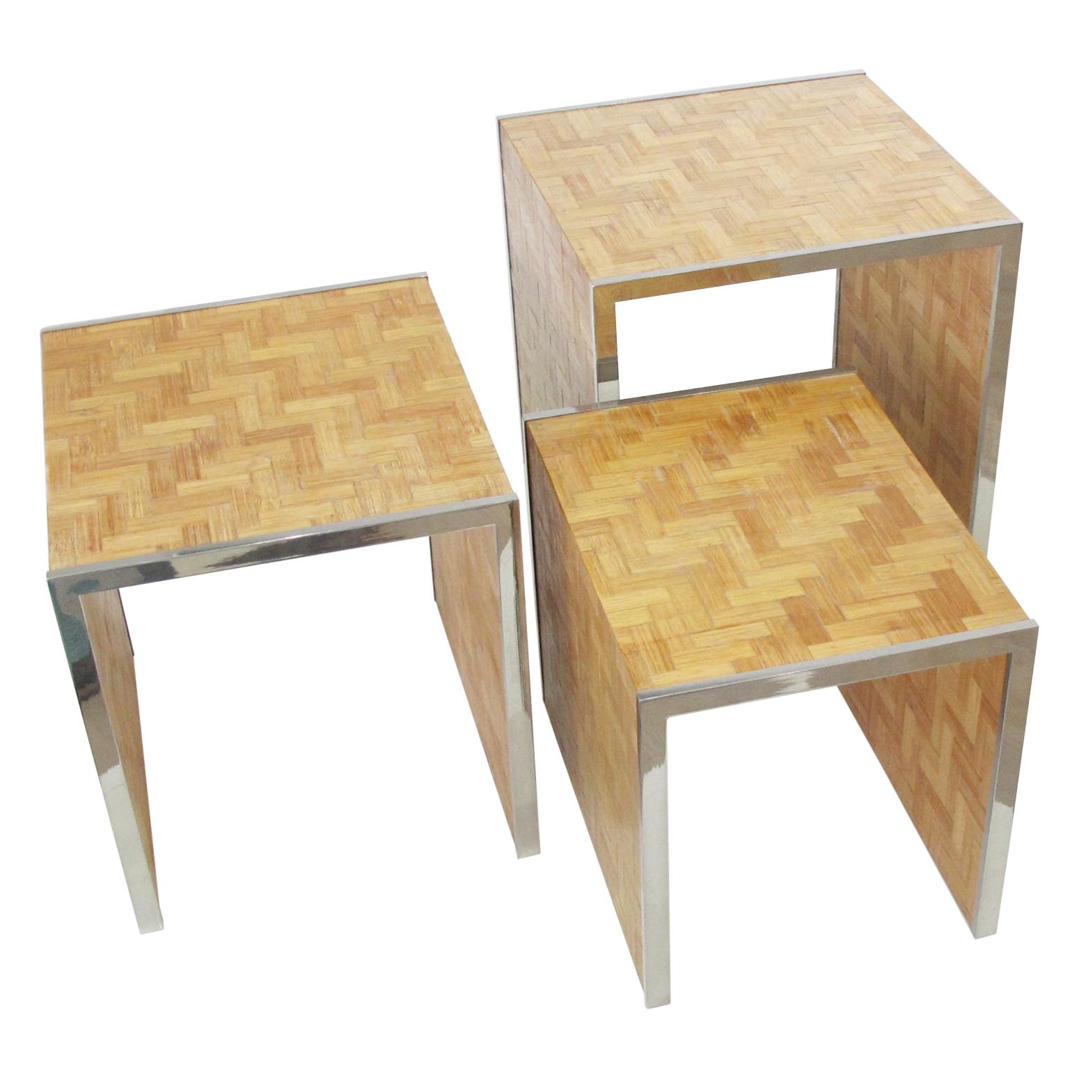 Tommaso Barbi 1970s Straw Marquetry Nesting Stacking Table, a trio
