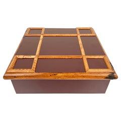 Tommaso Barbi Bamboo and Wood Squared Box, Italy, 1960s