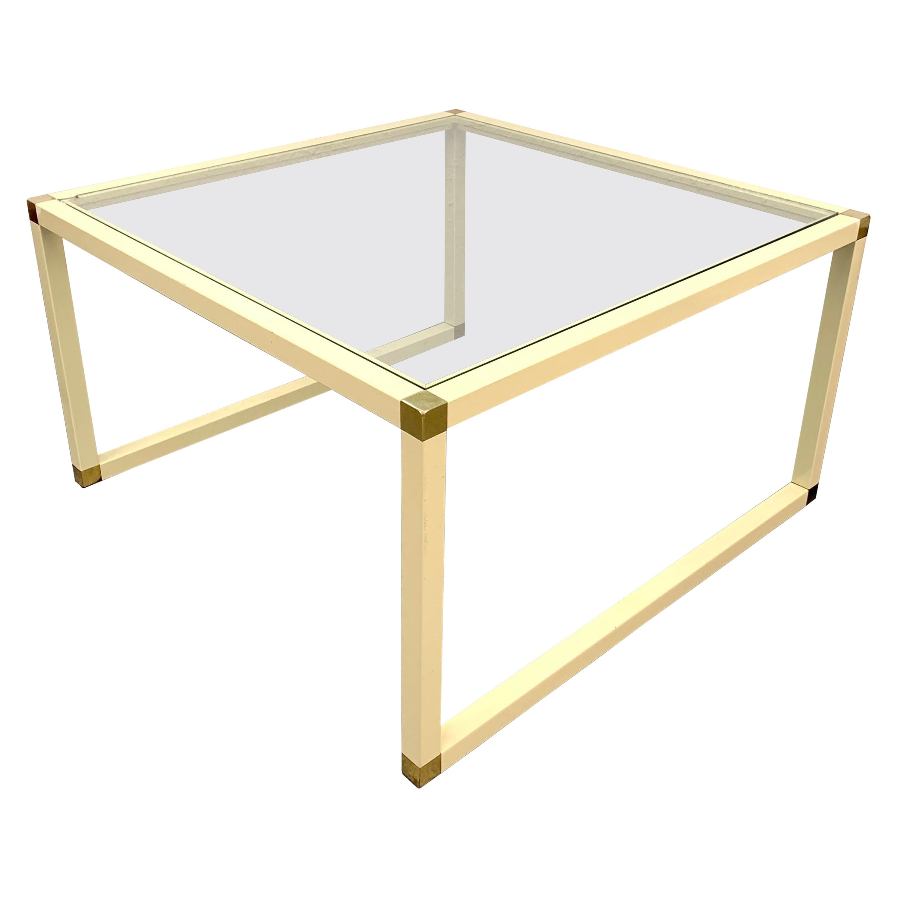 Tommaso Barbi Brass and Cream Enameled Metal Square Italian Coffee Table, 1970s