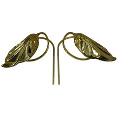 Tommaso Barbi Brass Leaf Sconces Wall Lights for Chapman, 1978