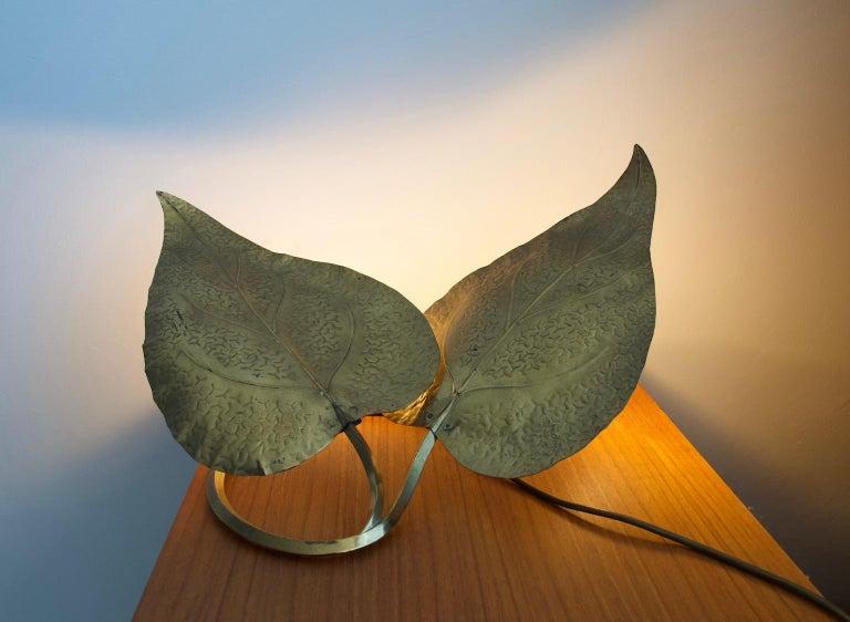 Italian Tommaso Barbi Brass Leaves Table Lamp For Sale