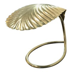 Tommaso Barbi Brass Plate Leaf Decorative Table Lamp
