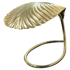Tommaso Barbi Brass-Plated Metal, One Candelabra Leaf Decorative Table Lamp