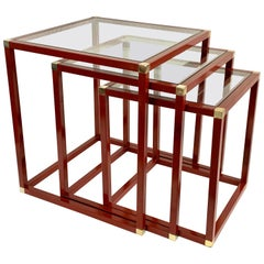Tommaso Barbi Brass Red Enameled Metal and Glass Italian Nesting Tables, 1970s