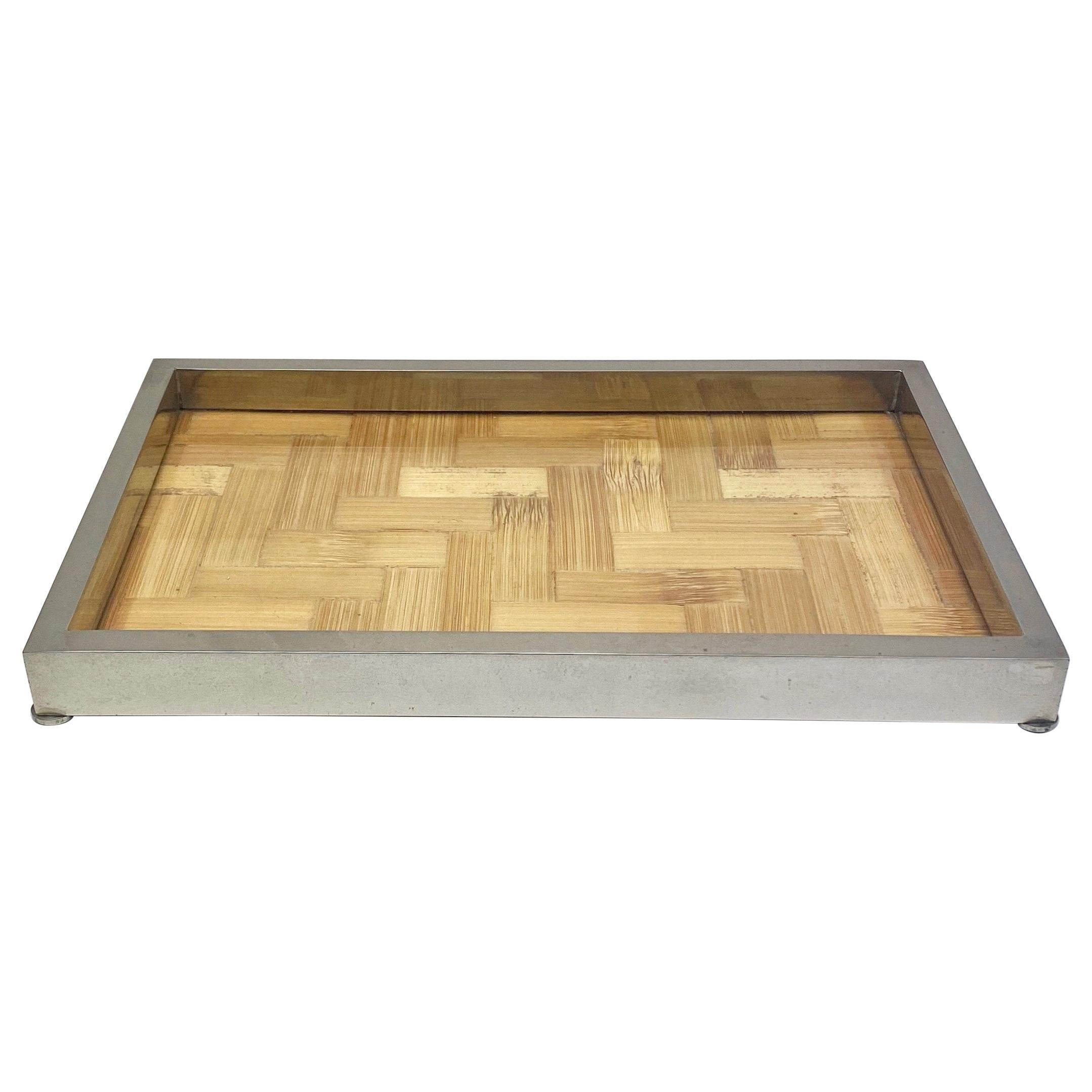 Tommaso Barbi Centrepiece Tray in Chrome, Glass and Bamboo, Italy, 1970s