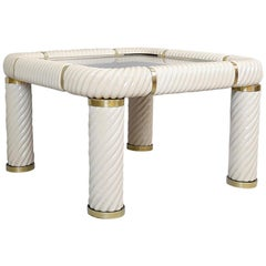 Tommaso Barbi Ceramic and Brass Coffee Table, 1970s