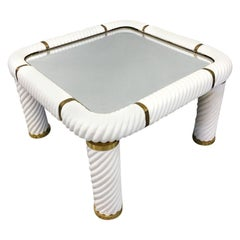 Tommaso Barbi Ceramic and Mirror Brass Coffee Table