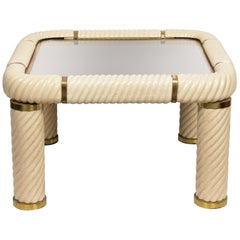Tommaso Barbi Ceramic Brass and Mirrored Glass Italian Cocktail Table, 1970s