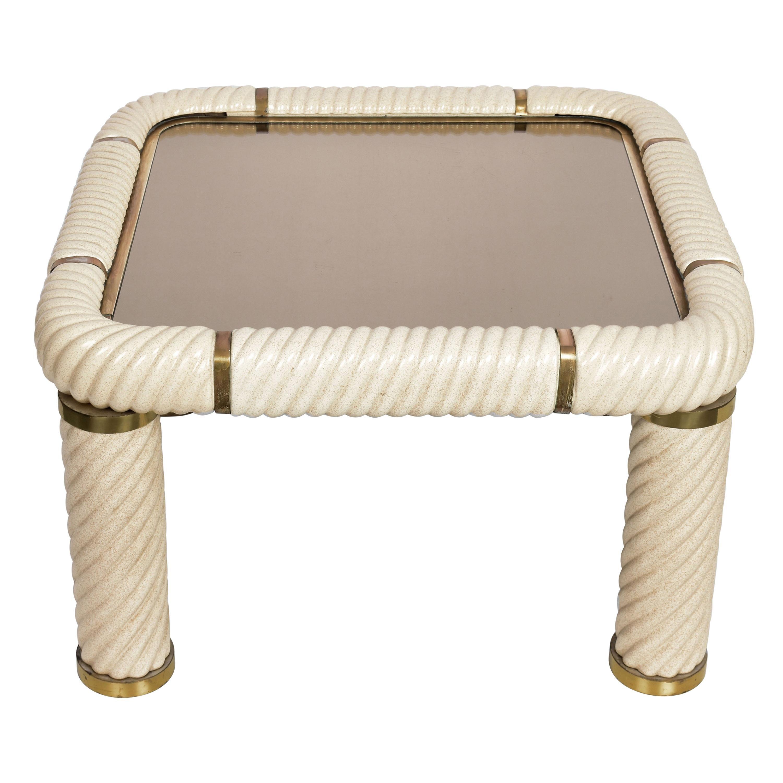 Tommaso Barbi Ceramic Brass and Mirrored Glass Italian Coffee Table, 1970s