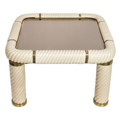 Tommaso Barbi Ceramic Brass and Mirrored Glass Italian Coffee Table, 1970s