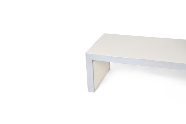 Coffee table / bench covered in original Skai PU leather with chrome trim by Tommaso Barbi, 1970. Marked