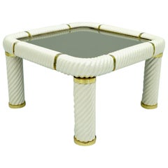 Tommaso Barbi Coffee Table in Ceramic, Brass and Glass, Italy, 1970s