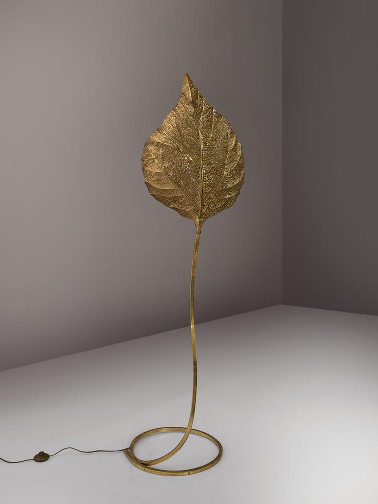 Tommaso Barbi for Carlo Giorgi, brass 'Rhubarb' leaf floor lamp, Italy, 1970s.